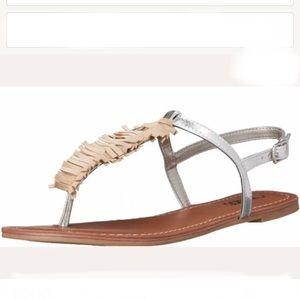"Carlos boho silver & nude fringe ""Finley"" sandals"